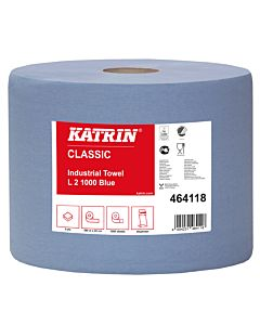 Katrin Industrierol 2 laags blauw 1000 coupons van 22 x 38 cm 2 rol / colli in folie 54 colli / pallet