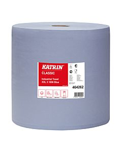 Katrin industrierol 3 laags blauw 1000 coupons van 38 x 38 cm 1 rol / colli in folie 30 colli / pallet