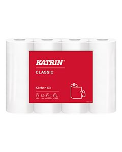Katrin classic keukenrol 2 laags tissue 50 vel 32 rol / colli in folie 27 colli / pallet