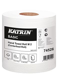 Katrin basic M 2 midi rol 2 laags tissue 450 coupons van 19 x 30 cm 6 rol folie 44 colli / pallet