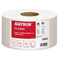 Katrin mini jumbo toiletpapier 2 laags tissue 8.8 x 25 cm 600 coupons 12 rol / colli 48 colli / pallet