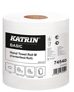 Katrin basic M midi rol 1 laags tissue 865 coupons van 19 x 30 cm 6 rol in folie 44 colli / pallet